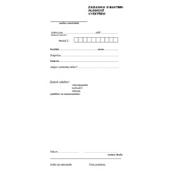Žádanka o bakteriologické vyšetření (list)