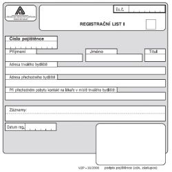 Registrační list