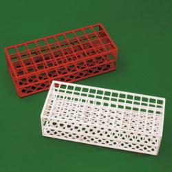Stojánek červený pro 40 zkumavek do průměru 21 mm